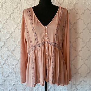AEO Blush Button Up Long Sleeve Blouse